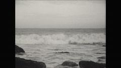 Waves Crash Rocky Shore 1930 Stock Footage