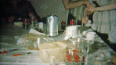 1951: The desert table after dinner with coffee and tea. Stock Footage