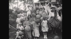 Horribles July 4th Parade Participants Group Wave 1931 - stock footage