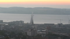 Elevated view of Tay Road Bridge at sunrise Dundee Scotland Stock Footage