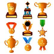 Gold medal and trophy icons - stock illustration