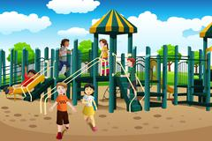 Multi-ethnic kids playing in the playground - stock illustration