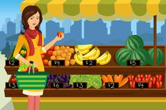 Woman shopping in an outdoor farmers market Piirros