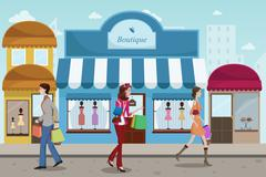 People shopping in an outdoor mall with French boutique style - stock illustration
