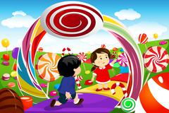 Kids playing in a candy land Stock Illustration