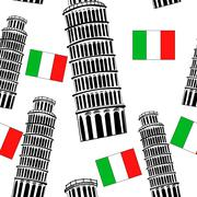 Sketch Pisa tower  seamless pattern - stock illustration