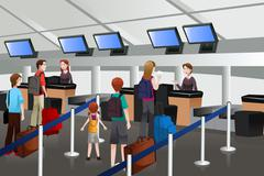 Lining up at the check-in counter in the airport Stock Illustration