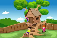 Stock Illustration of Kids playing in a tree house