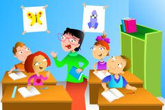 Teacher and student in the classroom - stock illustration