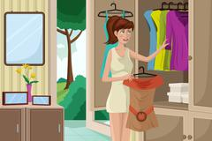 Young woman selecting an outfit - stock illustration
