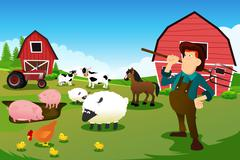 Farmer and tractor in a farm with farm animals and barn Stock Illustration