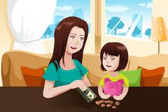 Mother and daughter saving money to a piggy bank Stock Illustration
