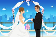 Married young couple Stock Illustration
