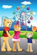 Bear family having fun at amusement park - stock illustration