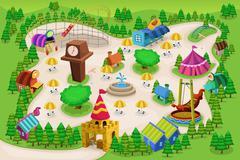 Amusement park map Stock Illustration