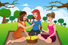 Young women having picnic in a park - stock illustration