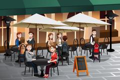 People enjoying coffee outside of a cafe - stock illustration