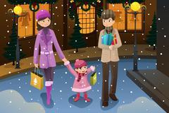 Family doing Christmas shopping - stock illustration