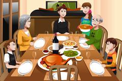 Family having a Thanksgiving dinner - stock illustration