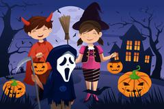 Kids dressed up in costumes trick or treating - stock illustration