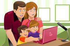 Happy family looking at a laptop Piirros