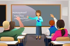 Stock Illustration of Teacher teaching college student