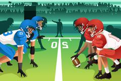 Football players in a match Stock Illustration