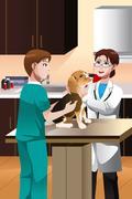 Veterinarian examining a cute dog Stock Illustration