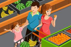 Stock Illustration of Family shopping grocery