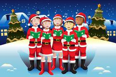 Children singing in Christmas choir - stock illustration