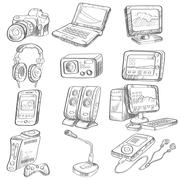 Pencil drawing of electronic gadget - stock illustration