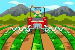 Farmer watering the farm with tractor - stock illustration
