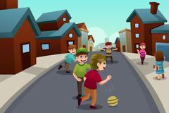 Kids playing in the street of a suburban neighborhood Stock Illustration