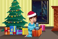 Boy opening a present under the Christmas tree Piirros