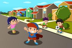 Kids playing in the street of a suburban neighborhood - stock illustration