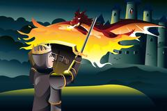 Stock Illustration of Prince fighting dragon while rescuing princess