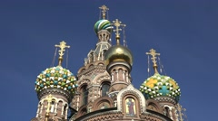 The domes of the Church of the Savior on Spilled Blood, St Petersburg, Russia. Stock Footage