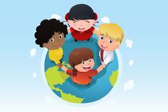 Multi ethnic kids holding hands together Stock Illustration