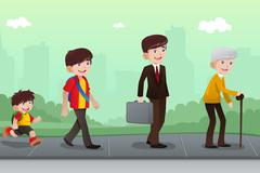 Evolution or aging concept Stock Illustration