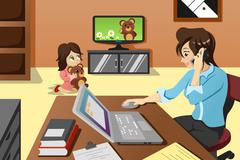 Mother working in the office Stock Illustration