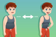 Before and after: weight loss - stock illustration