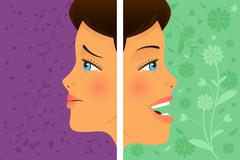 Before and after: attitude Stock Illustration