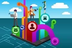 People using different mobile device Stock Illustration