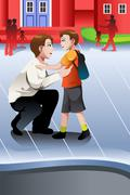 Father picks up his son from school Stock Illustration
