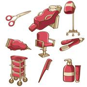 Barbershop icons - stock illustration
