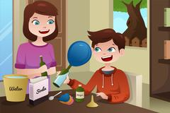 Mother helping son build a science project Stock Illustration