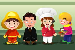 Children dressing up as professionals Stock Illustration
