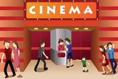 Young people hanging out outside a movie theater Stock Illustration