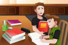 Father helping his son doing homework - stock illustration