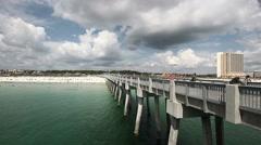 Fishing Boardwalk at Panama City Beach, Florida Stock Footage